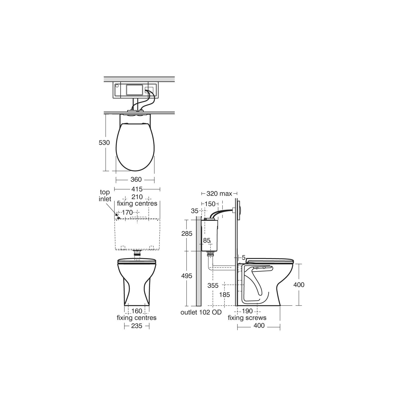 Armitage Shanks Sandringham 21 toilet dimensions