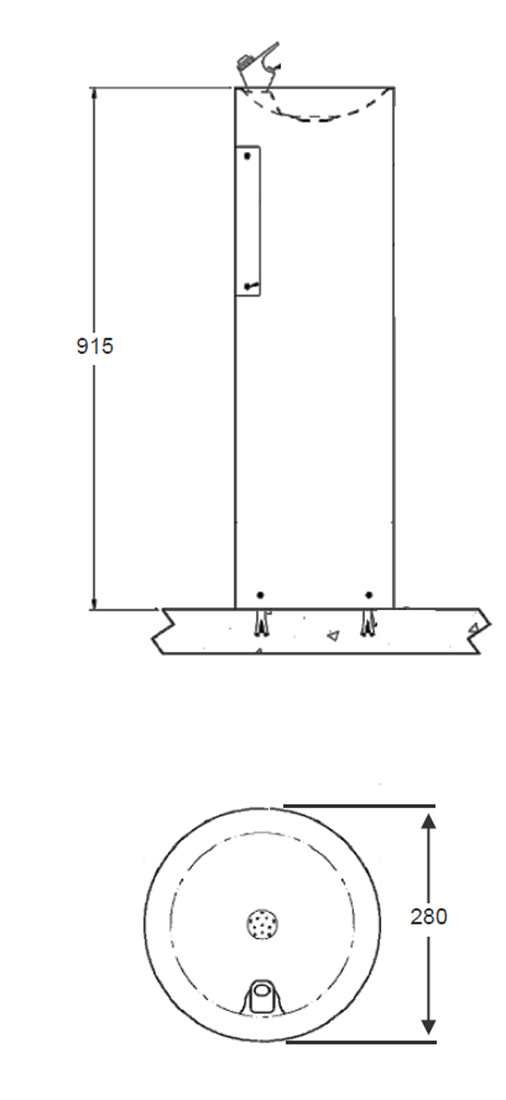 picture of pedestal drinking fountain dimensions