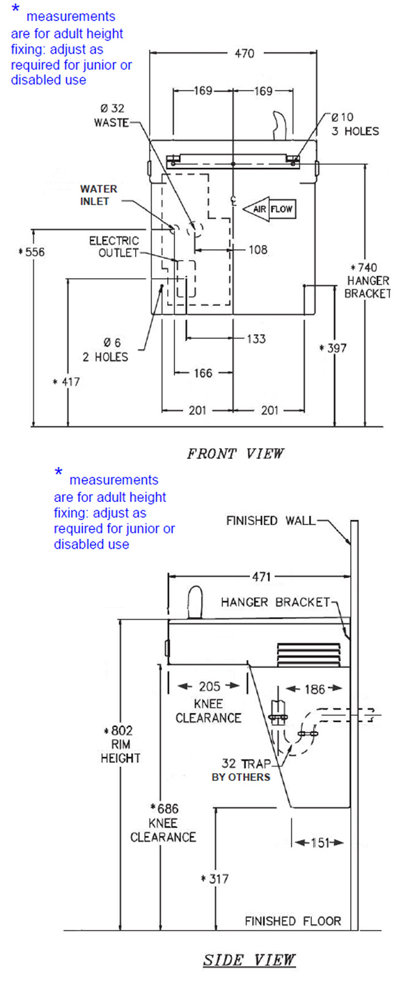 drawing of dda water cooler dimensions