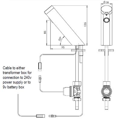 Angled basin sensor tap dimensions