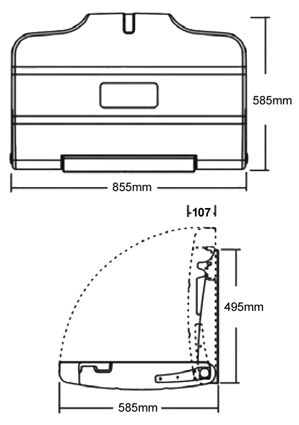 fold down baby changing unit dimensions