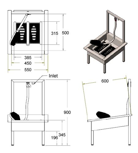 boot wash unit dimensions