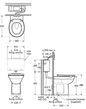 contour 21 back to wall raised height toilet armitage shanks