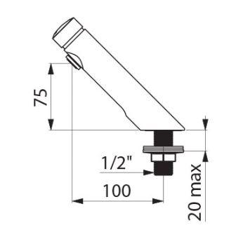 dimensions of Delabie Temposoft 2 tap
