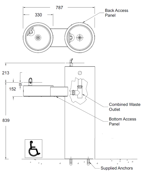 bi level drinking fountain dimensions