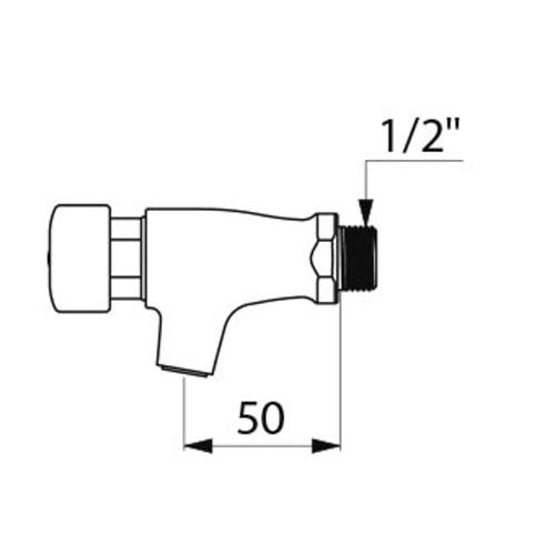 self closing bib tap dimensions