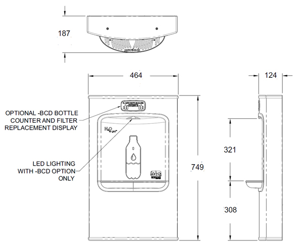 bottle filler dimensions