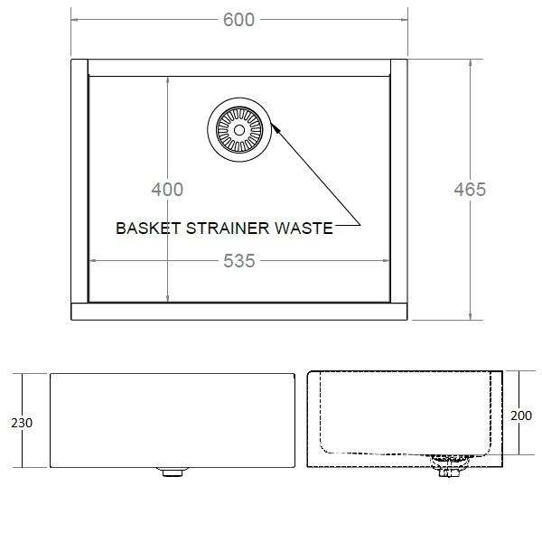 dimensions of stainless steel belfast sink