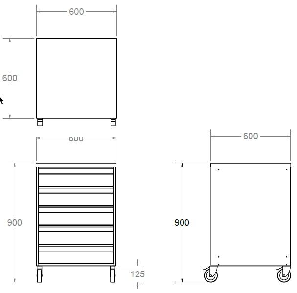 stainless steel 5 drawer storage unit