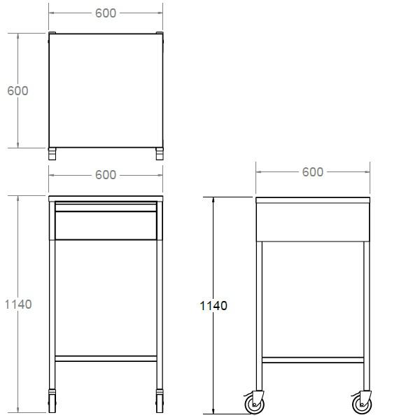 single drawer trolley unit
