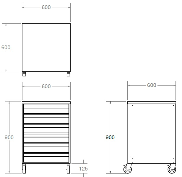 six drawer stainless steel cleanroom storage unit