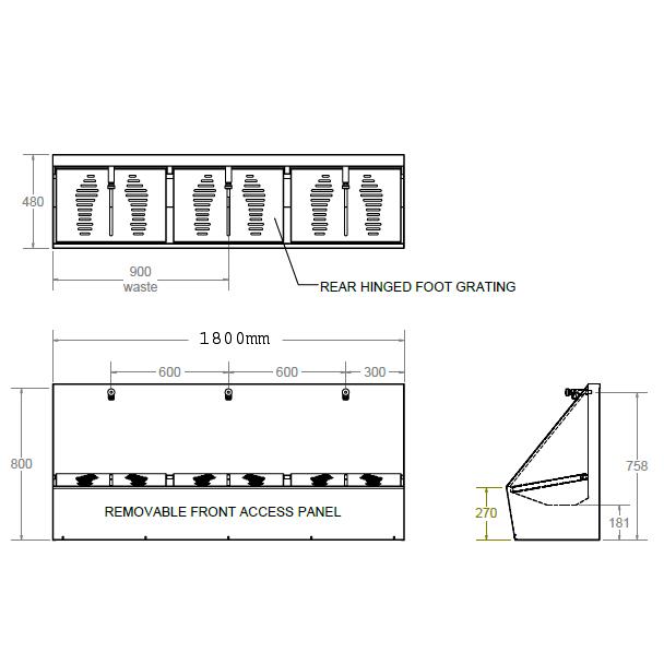3 person wudu foot wash dimensions