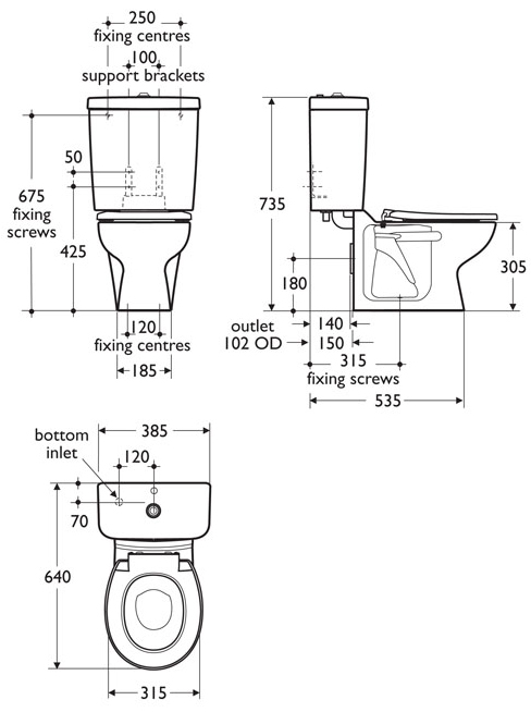 Infant height close coupled wc suite contour 21 school for Bathroom dimensions