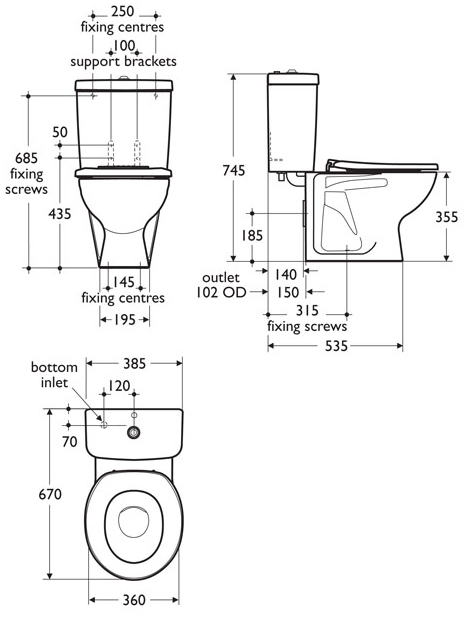 toilet dimensions inches