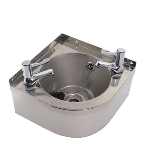 Corner Washbasins : Stainless Steel Corner Wash Basin With Lever Taps