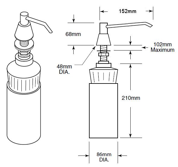 6 inch spout countertop soap dispenser dimensions