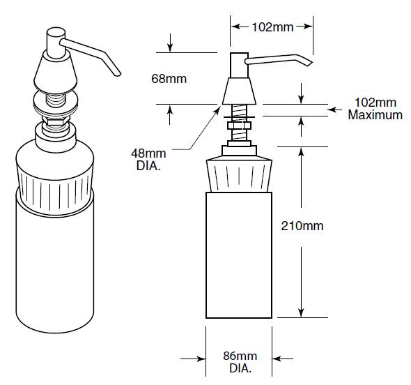 countertop soap dispenser dimensions