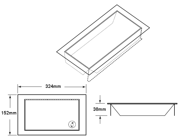 countertop waste flap door dimensions