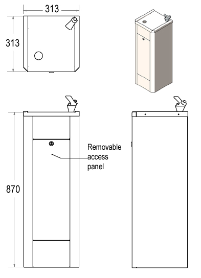 floor standing drinking water fountain dimensions