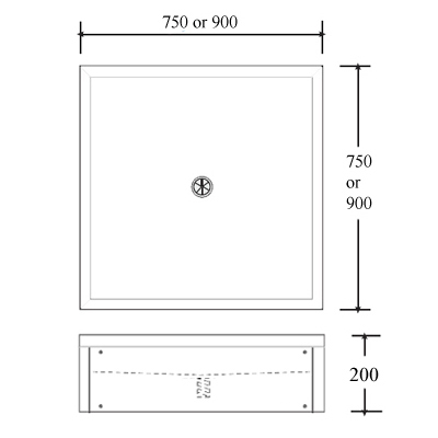 floor standing shower tray dimensions