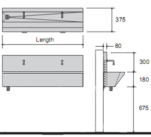 photo of wash trough dimensions