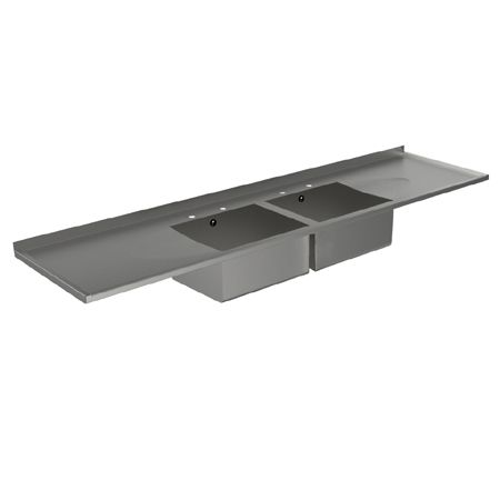 dbdd double bowl double drainer catering sink tops - Double Drainer Kitchen Sink