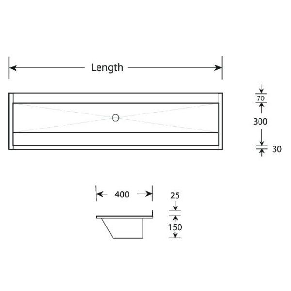 Sit on Stainless Steel Wash Trough
