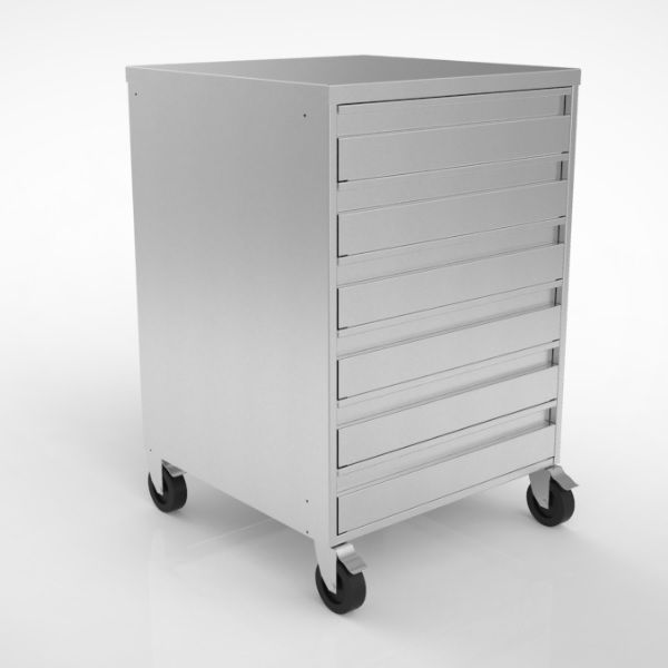 Stainless Steel Six Drawer Storage Unit