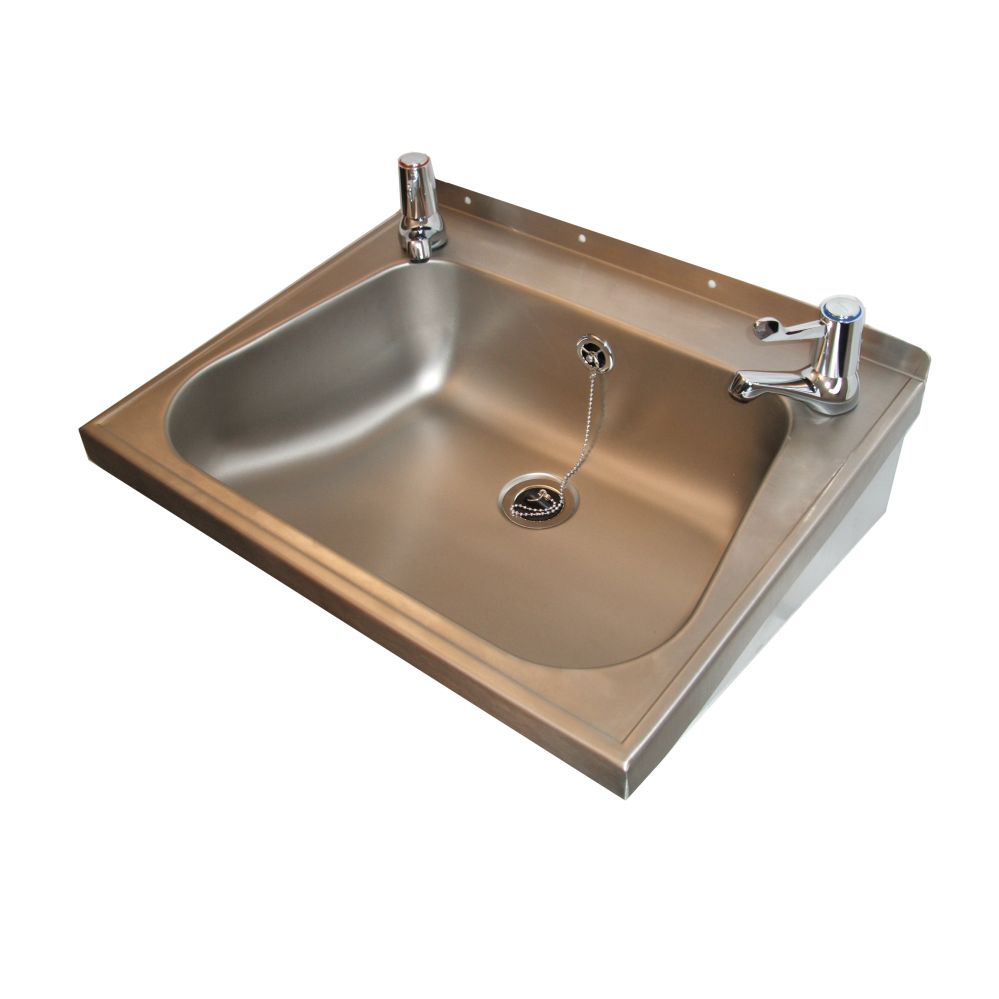 Stainless Steel Wash Hand Basin With Lever Taps
