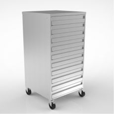 Ten Drawer Stainless Steel Storage Unit