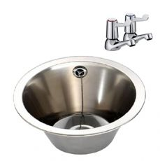 340mm diameter wash bowl with lever taps