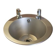 inset basin with lever taps