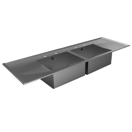 Inset Double Bowl Double Drainer Catering Sink Tops image