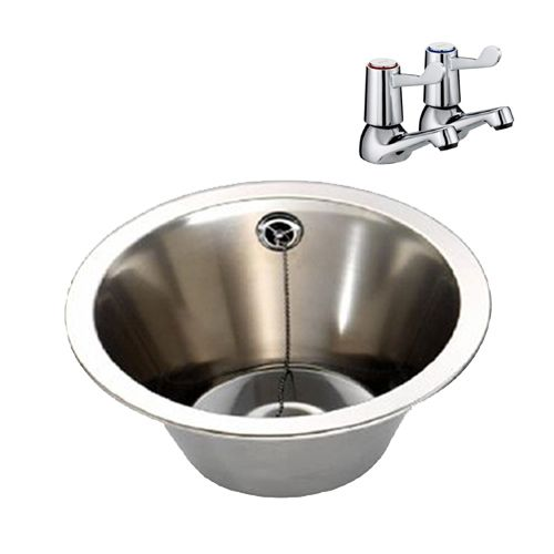 Stainless Steel Inset Wash Bowl With Lever Taps image