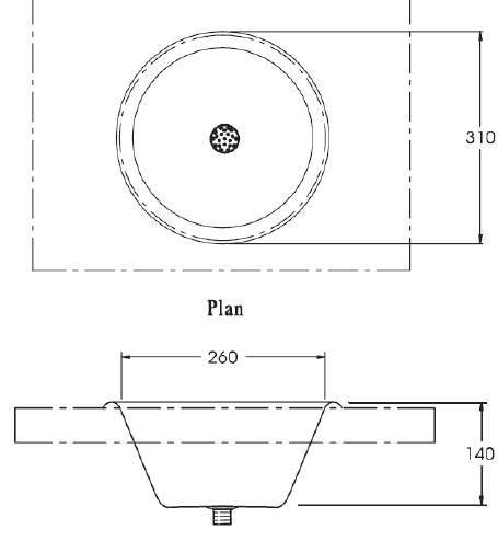 image of inset wash basin sizes
