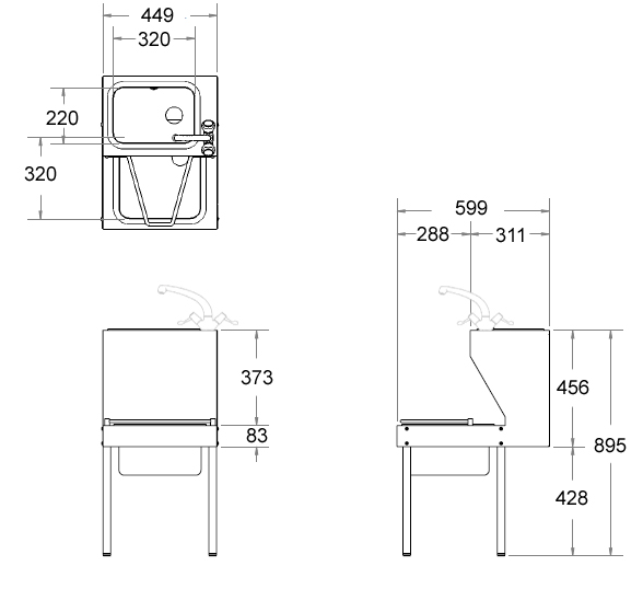 janitorial sink unit dimensions