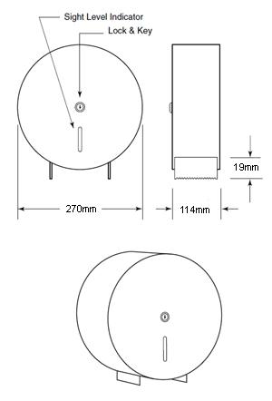 stainless steel jumbo toilet roll holder dimensions