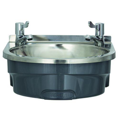 Large Polycarbonate Basin with lever taps or optional hands free push control image