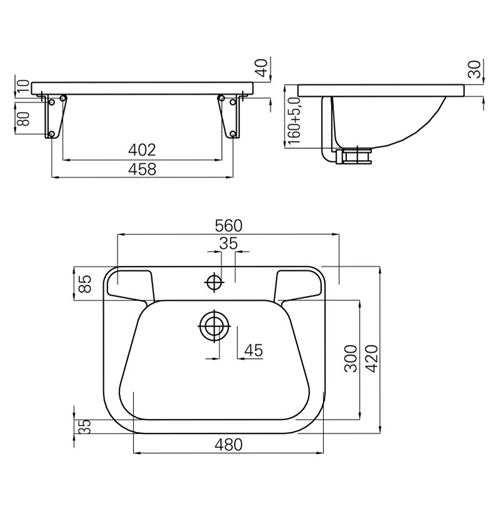 dimensions of a large stainless steel wash basin