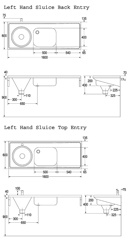 left hand combined sluice sink dimensions