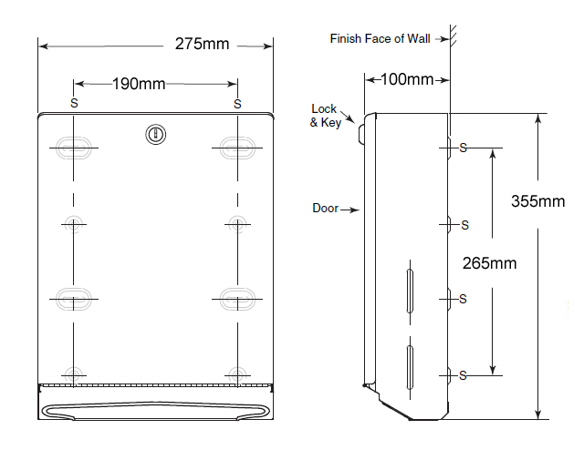 paper towel dispenser dimensions