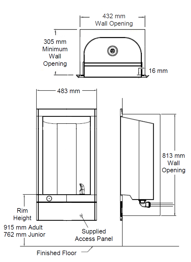 recessed drinking water fountain dimensions