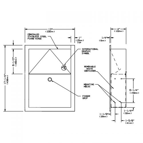 Stainless Steel Recessed Sanitary Towel Bin image