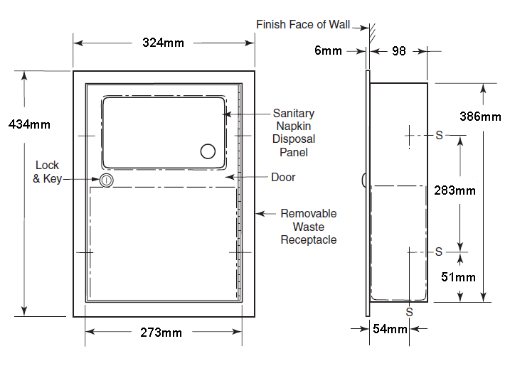 recessed sanitary towel disposal bin dimensions