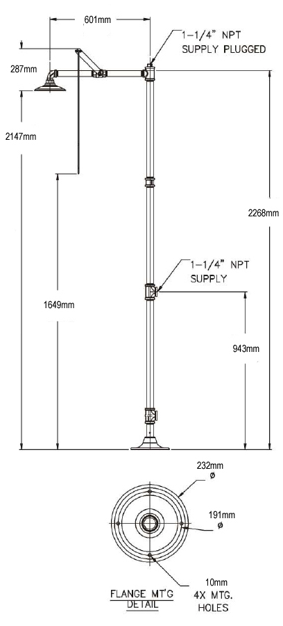 floor mounted drench shower sizes