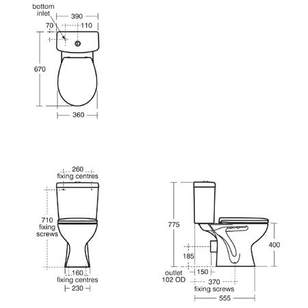 sandringham close coupled toilet dimensions