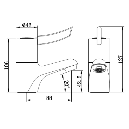 sequential lever mixer tap dimensions