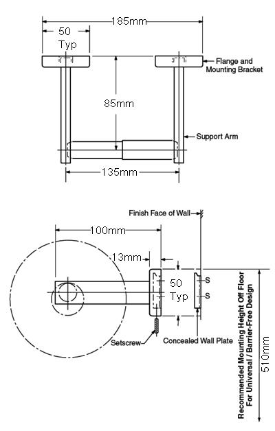 single toilet roll holder