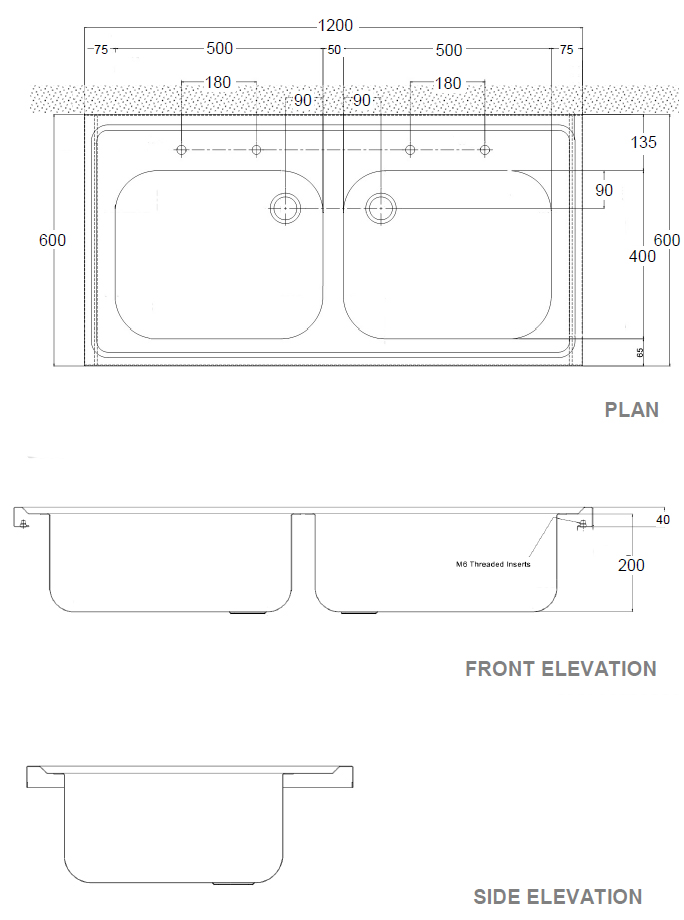Sk2 Hospital Double Sink Dimensions