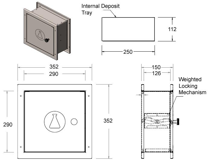 specimen pass through cabinet dimensions